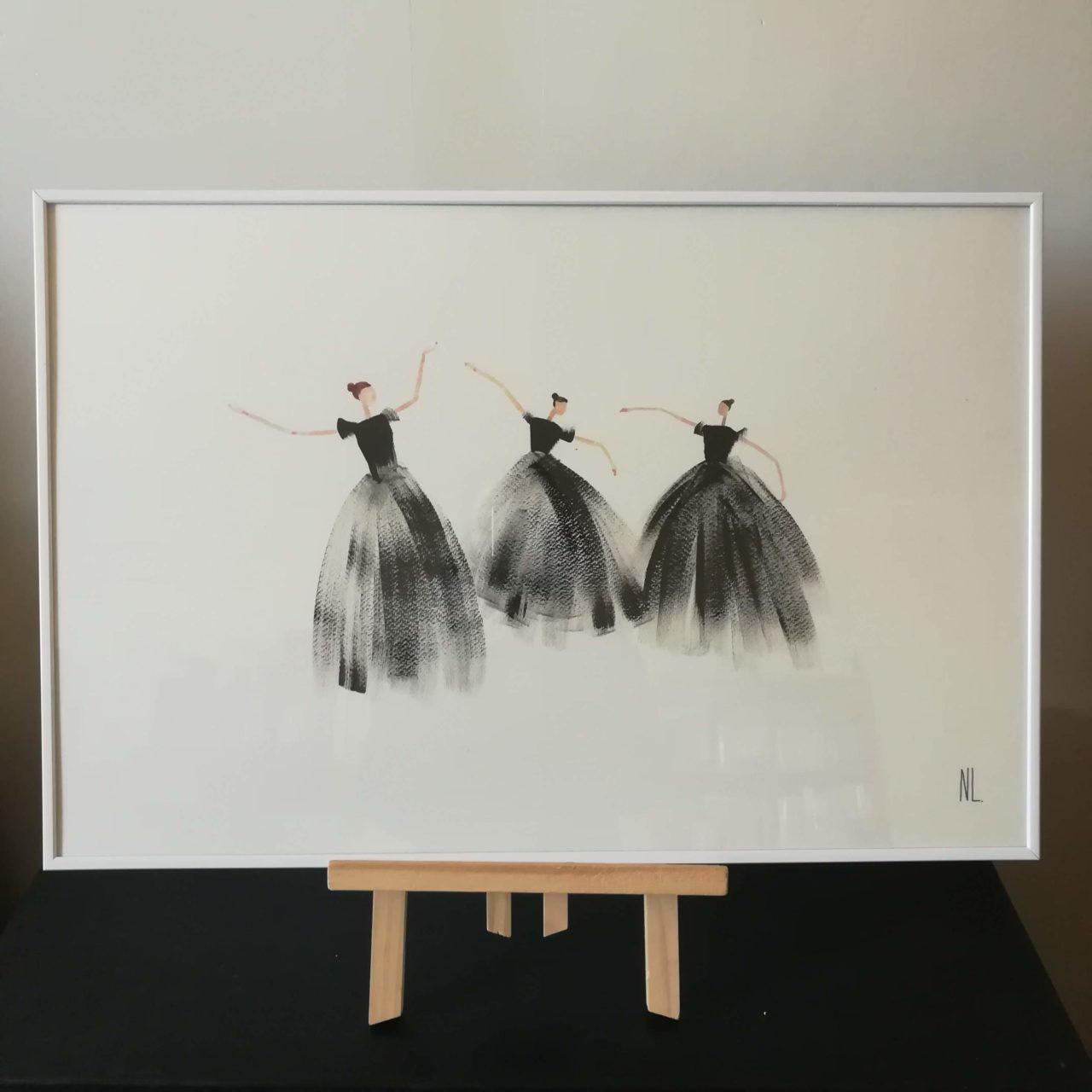 Danseuses . Peinture acrylique et aquarelle